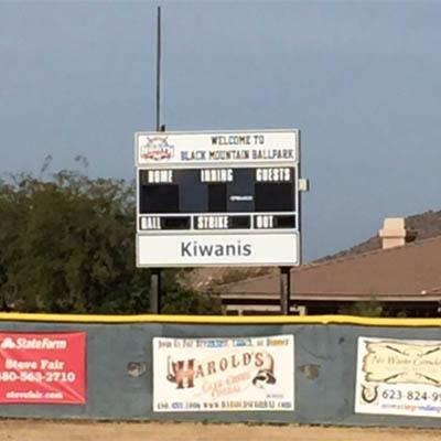 Black Mountain ball park score board