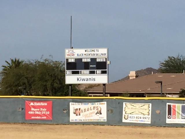 Black Mountain ball park score board