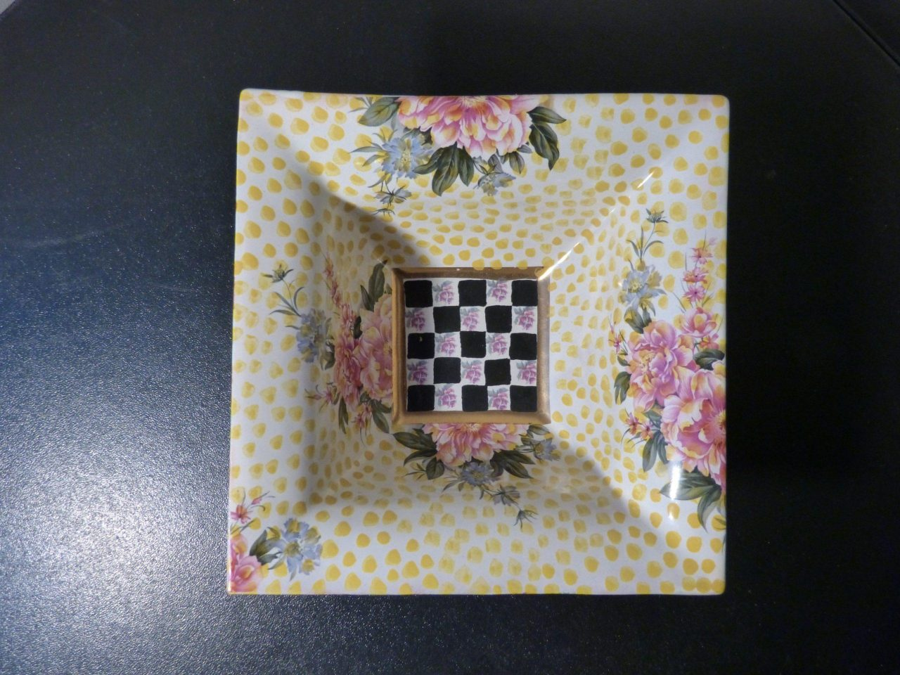 Mackenzie Childs Torquay Buttercup Kelp & Urchin Square Bowl