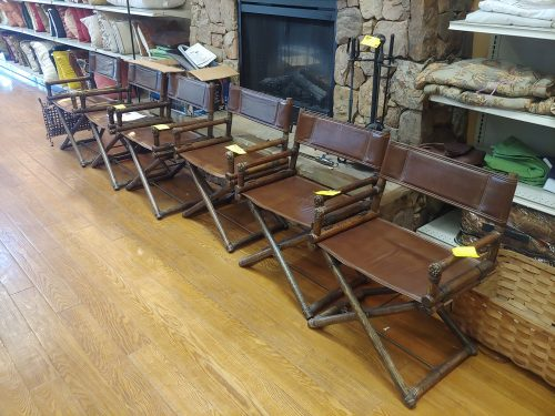 McGuire Bamboo & Brass Vintage Leather Folding Directors Chair