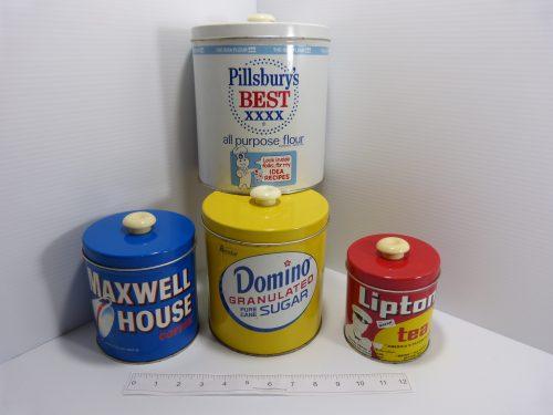 Pillsbury Flour Domino Sugar Maxwell House Lipton Tea 4 Vintage Canisters Tins