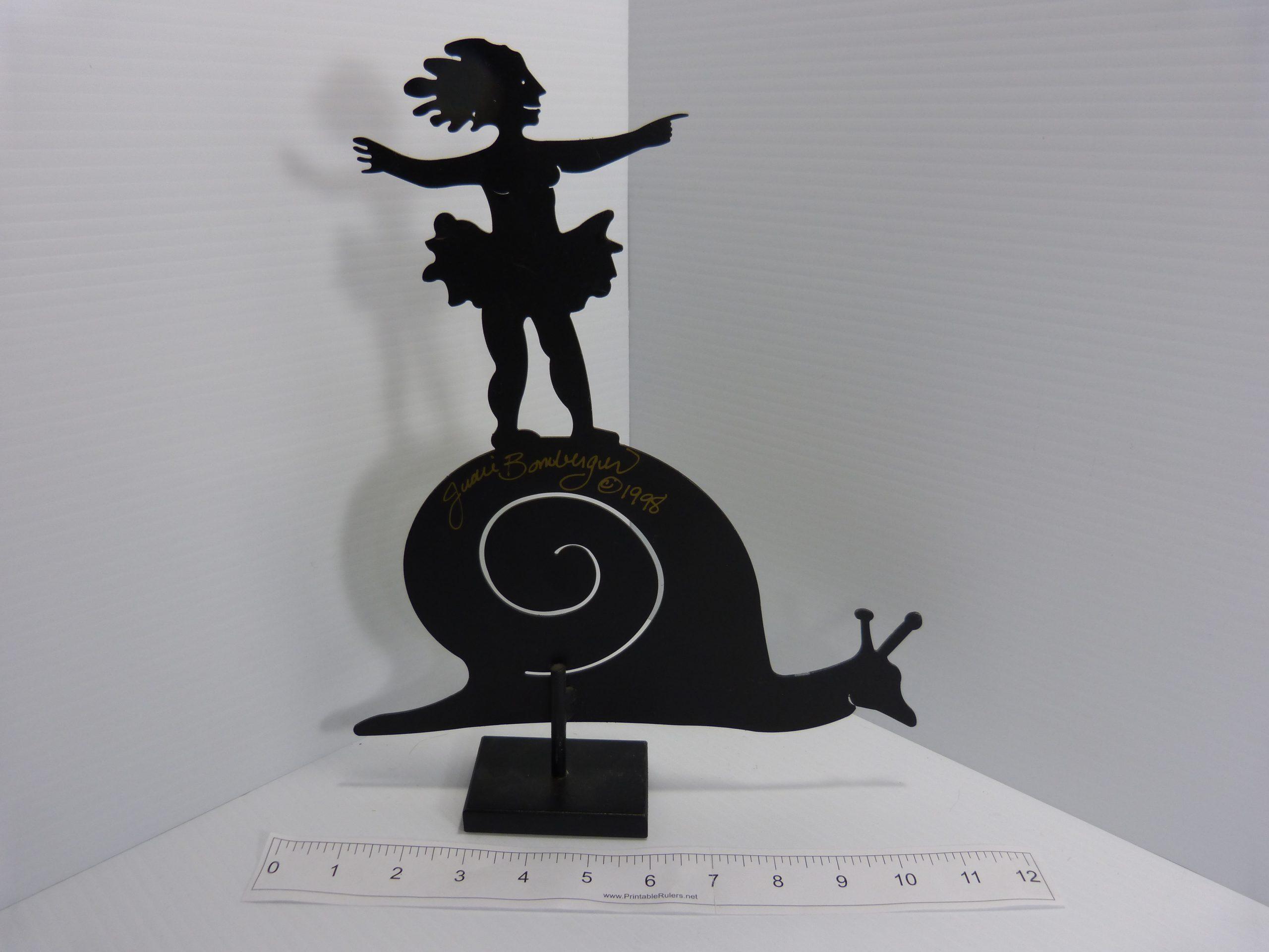 Judie Bomberger Sculpture Ballerina on a Snail
