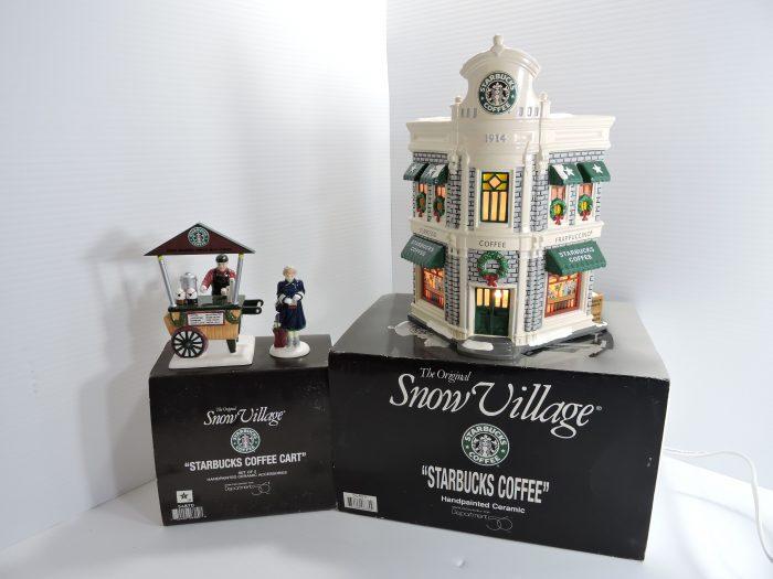 Department 56 Snow Village Starbucks Coffee & Coffee Cart NIB
