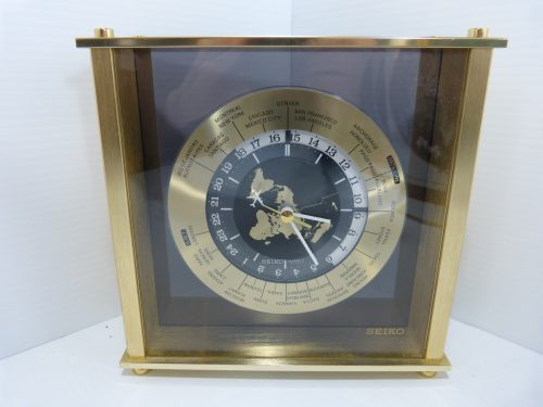 Seiko World Time Quartz Brass Mantel Clock