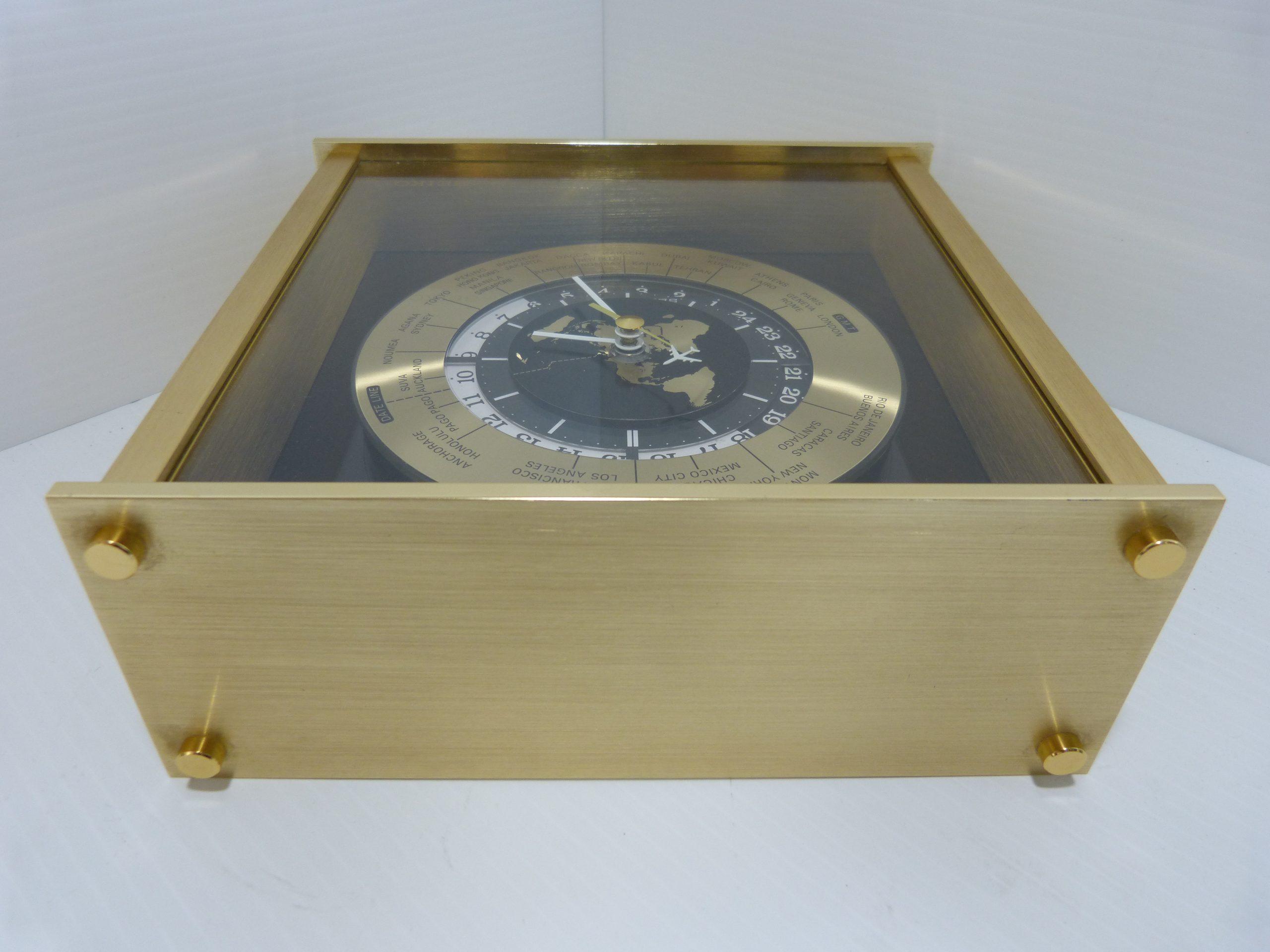 Seiko World Time Quartz Brass Mantel Clock
