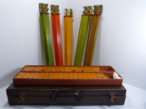 Antique Mah Jong Catalin Mahjong Set W/5 Racks