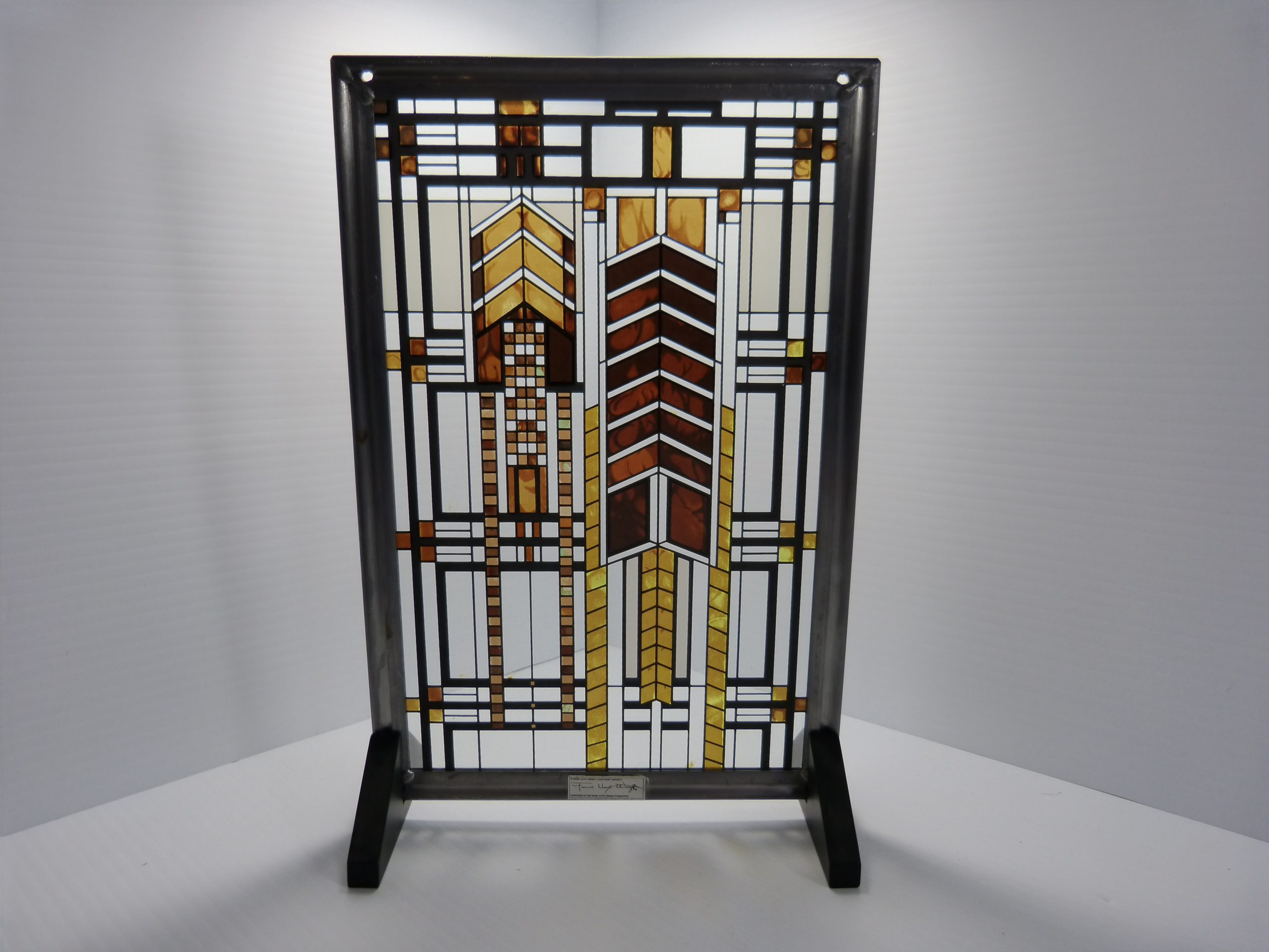 "Frank Lloyd Wright 11 3/8"" X 7 3/8"" Stained Glass Dana Thomas House Autumn Sumac"