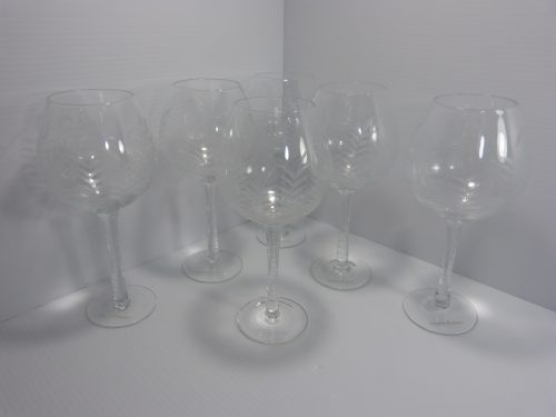 6 Tommy Bahama Etched Palm Tree Crystal Red Wine Glasses Goblets