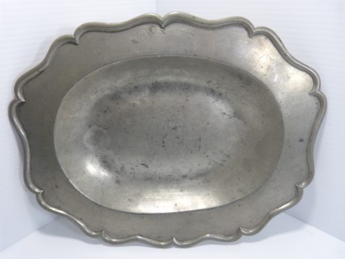 "Antique Pewter Serving Dish 13 1/2"" x 10 1/2"""