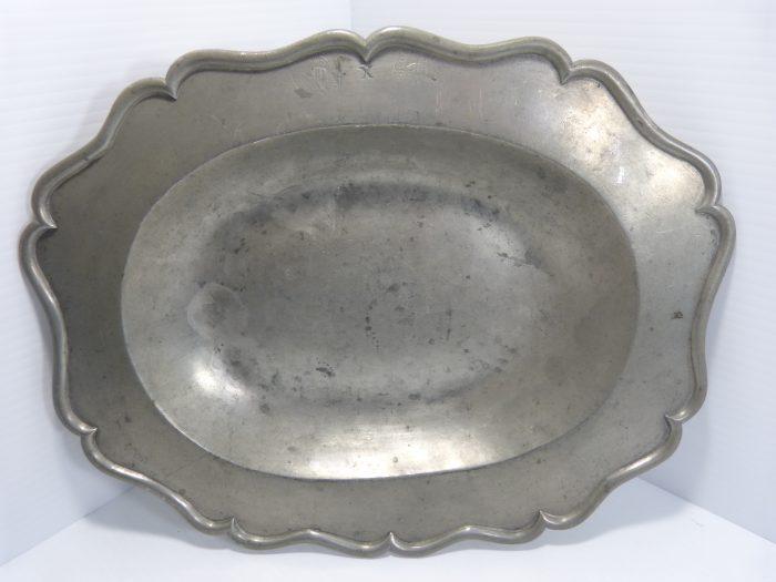 "Antique Pewter Serving Dish 13 1/2"" x 10 1/2"""