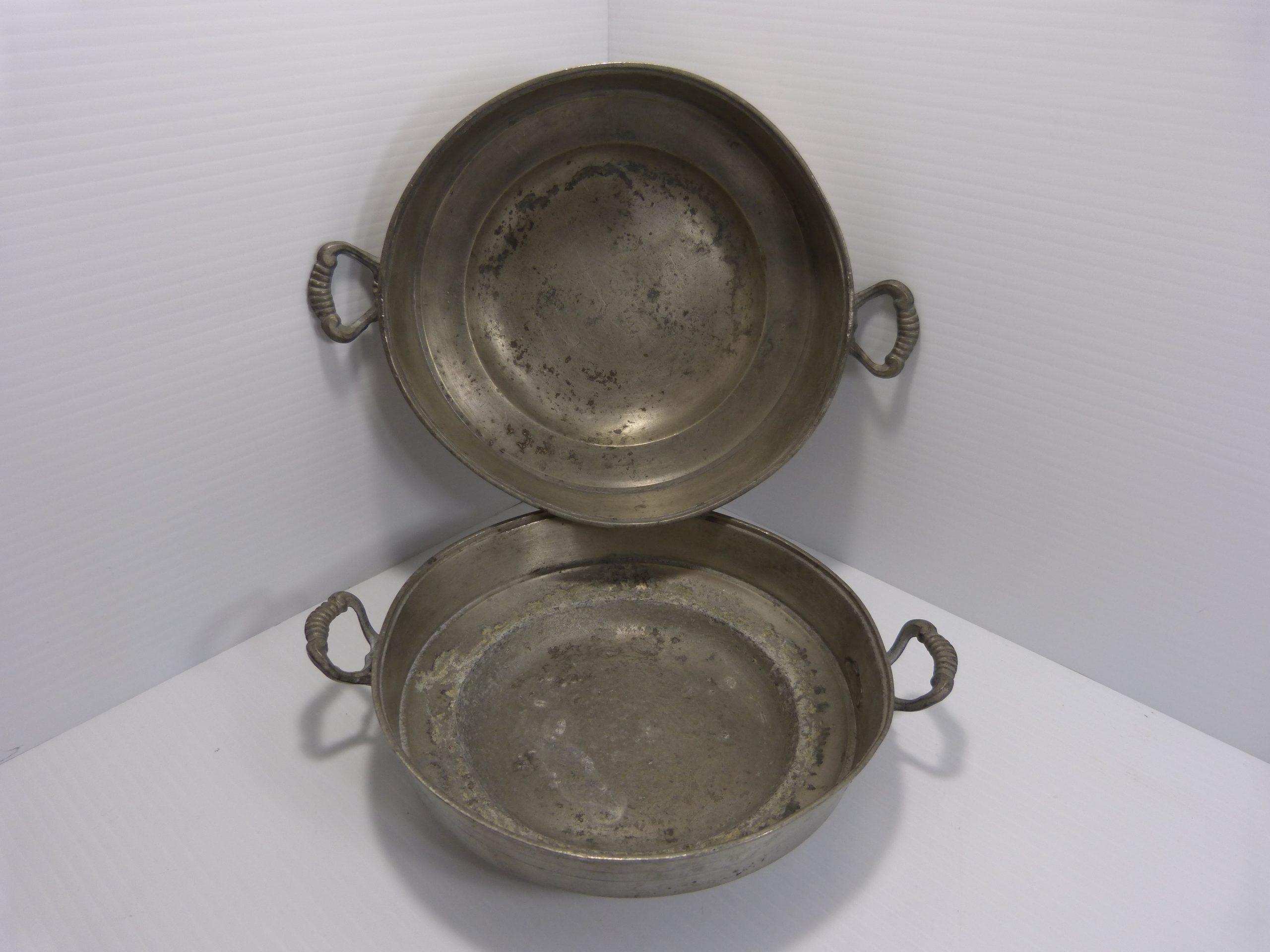 "Antique Pewter Bowls 11 x 8 1/4"" 1791"