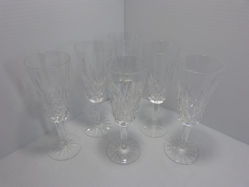 6 Waterford Lismore Tall Wine Glasses 7 3/8""