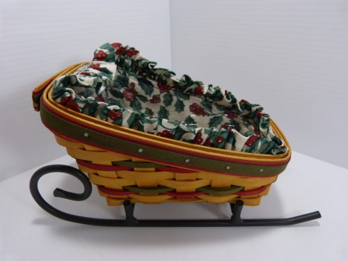 Longaberger Sleigh Basket with Wrought Iron Sleigh Runner 1999