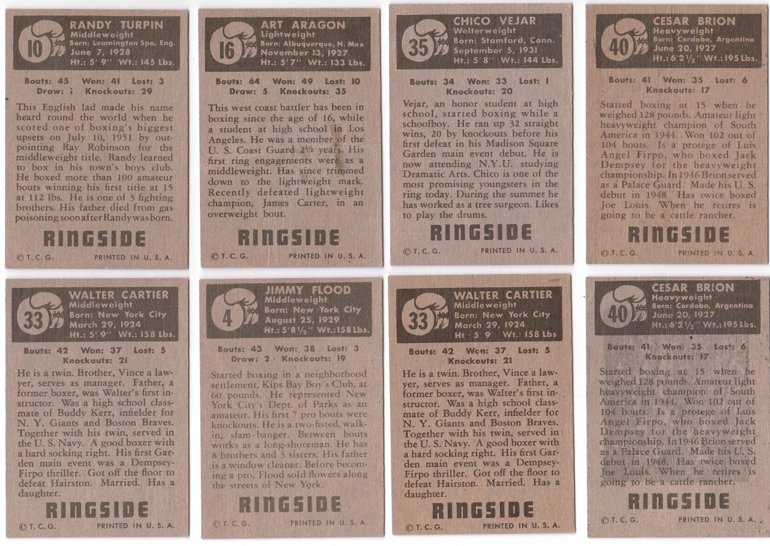 Mixed Lot of 8 1951 Tops Ringside Cards