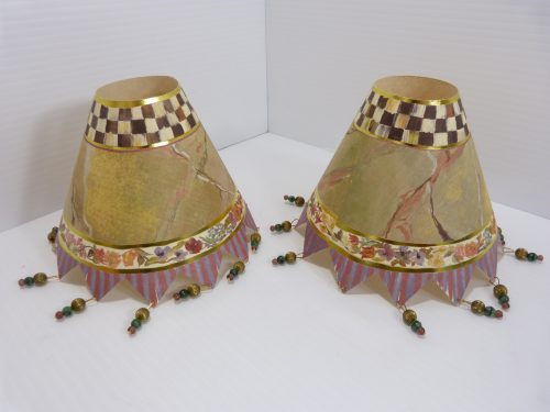 MacKenzie Childs Paper Lamp Shades Beaded 1993