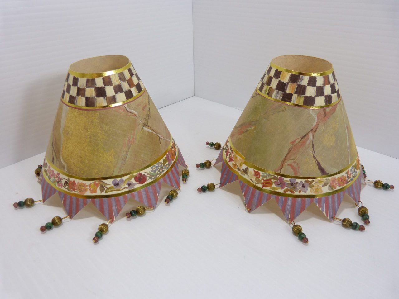MacKenzie Childs Paper Lamp Shades Beaded 1993