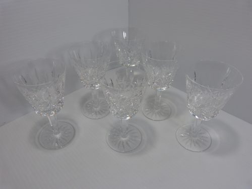 6 Waterford Lismore Claret Wine Glasses 5 7/8""