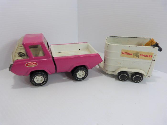 Tonka Truck & Horse Trailer Pink Vintage