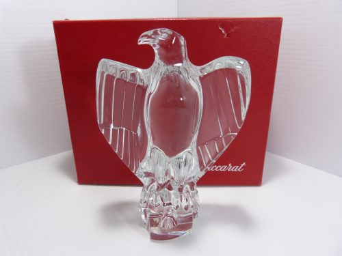 """Baccarat France Crystal 7"""" Standing Eagle Figurine In Box"""