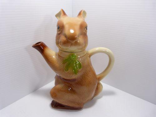 "Tony Wood Rabbit Teapot 9 1/2"" tall"