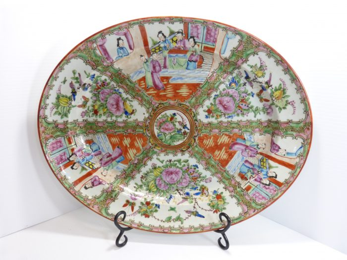"Rose Medallion Porcelain Platter 17 3/4"" 19th Century Hand Painted."
