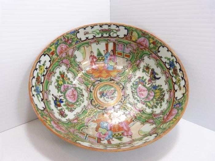 "Rose Medallion Procelain Bowl 7 7/8"" 19th Century Hand Painted."