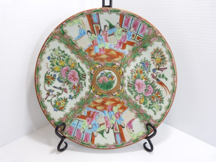 """Rose Medallion Porcelain Plate 11 1/8"""" 19th Century Hand Painted."""