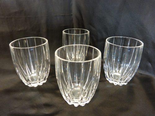 """Stuart Crystal Linear Rummer Glasses 4 3/8"""" Tall Set of 4"""