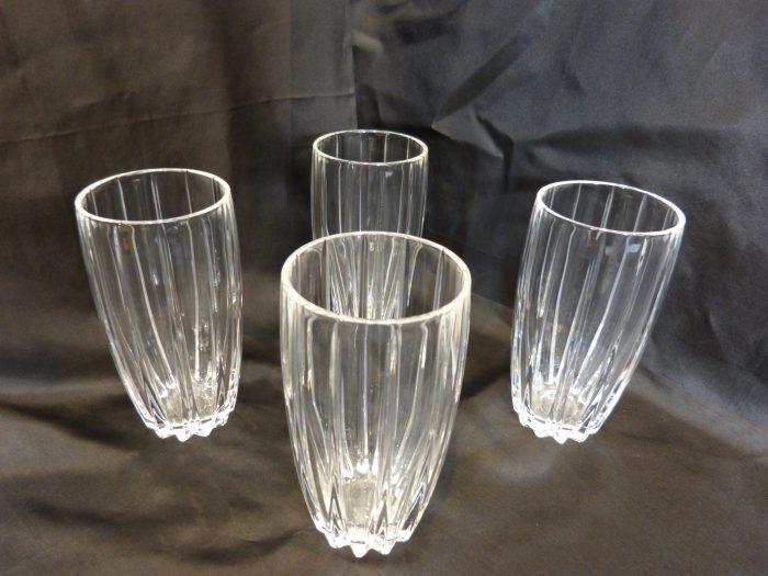 "Stuart Crystal Linear Highball Glasses 5 5/8"" Tall Set of 4"