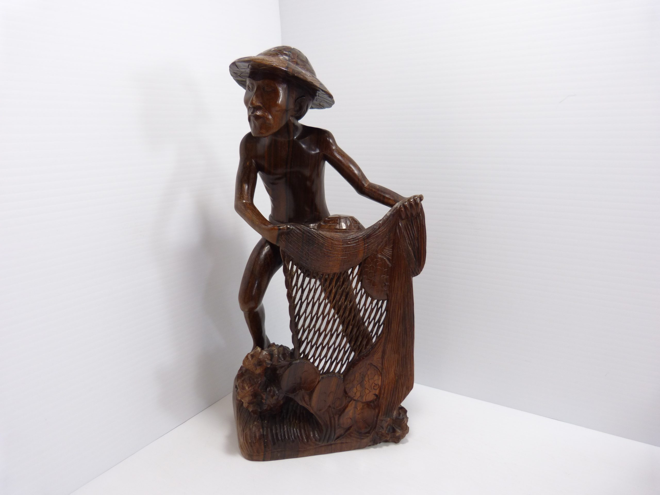 """Hand Carved Wood Fisherman With Net 13.5"""" Bali"""