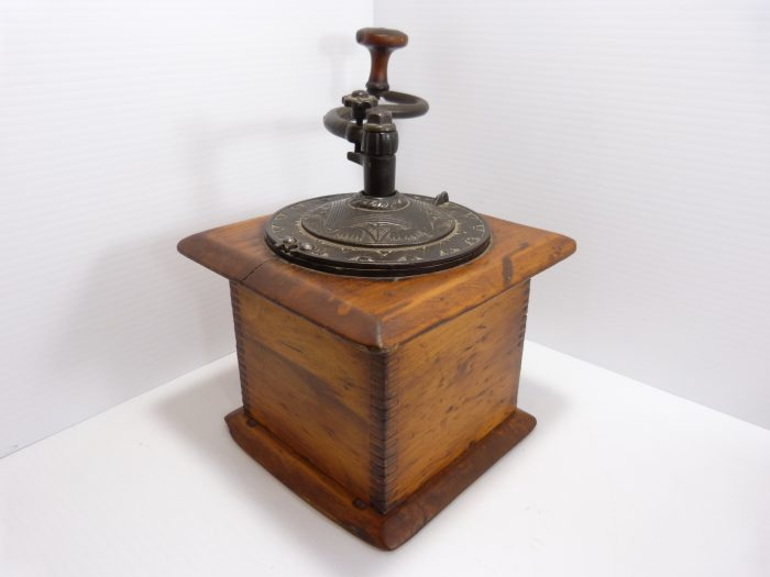 Antique Wood and Cast Iron Coffee Grinder
