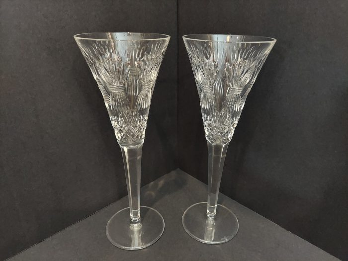 """Waterford Millenium Fluted Champange """"Prosperity"""" 9 1/4"""" Set of 2"""