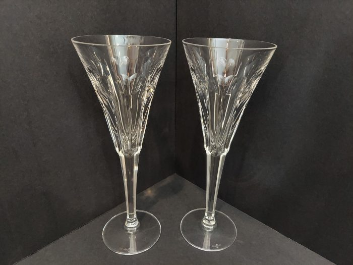 """Waterford Millenium Fluted Champange """"Love"""" 9 1/4"""" Set of 2"""