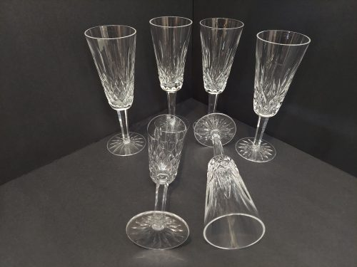 """6 Waterford Lismore Tall Wine Glasses 7 3/8"""""""